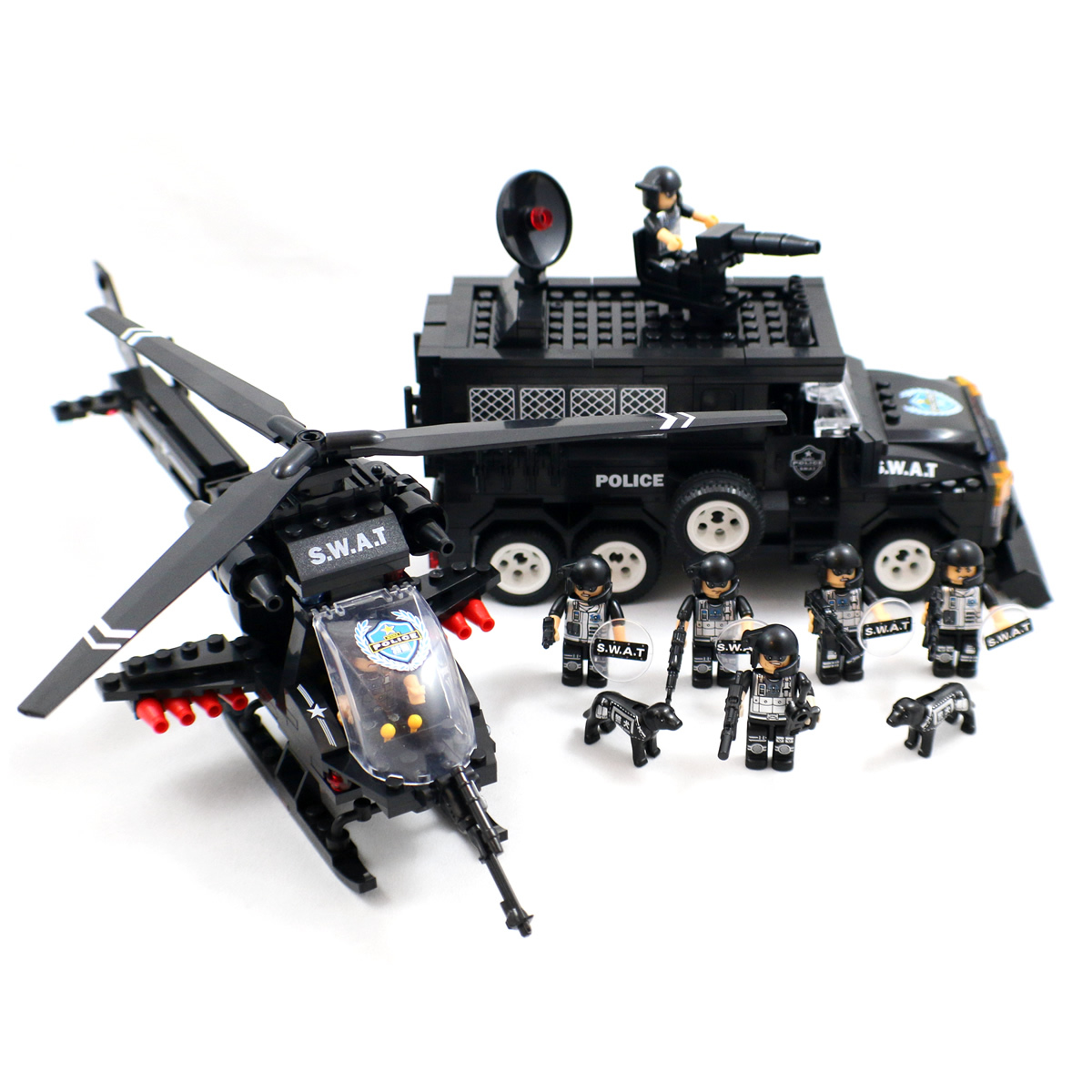 Lego Swat Photo1: Police SWAT With Helicopter Building Block Toy