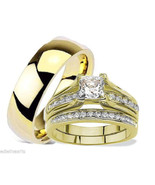 HIS HERS 3 PIECE MEN'S WOMEN'S GOLD PLATED WEDD... - $39.99