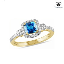 Cushion Cut Blue Sapphire Solitaire W/ Accents Ring 14k Gold Plated 925 ... - ₨4,868.89 INR