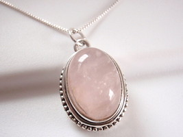 Rose Quartz Intricately Fashioned Pendant 925 Sterling Silver Solid 5 Gr... - $279,54 MXN