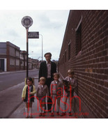 1970's Original amateur 35mm slide man with kids children bus stop - $3.91