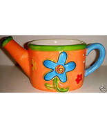 Orange Ceramic Planter Shaped Like a Watering Can - $8.00