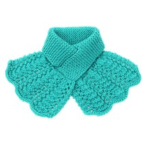 Lacy Knit Ascot Keyhole Scarf, Blue  - $35.00