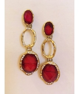 Red Stone Earrings Clear Faceted Rhinestones Gold Metal Pierced Post Dangle - $29.00