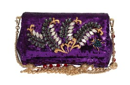Dolce & Gabbana Purple Sequined Crystal Clutch Bag - $1,882.19
