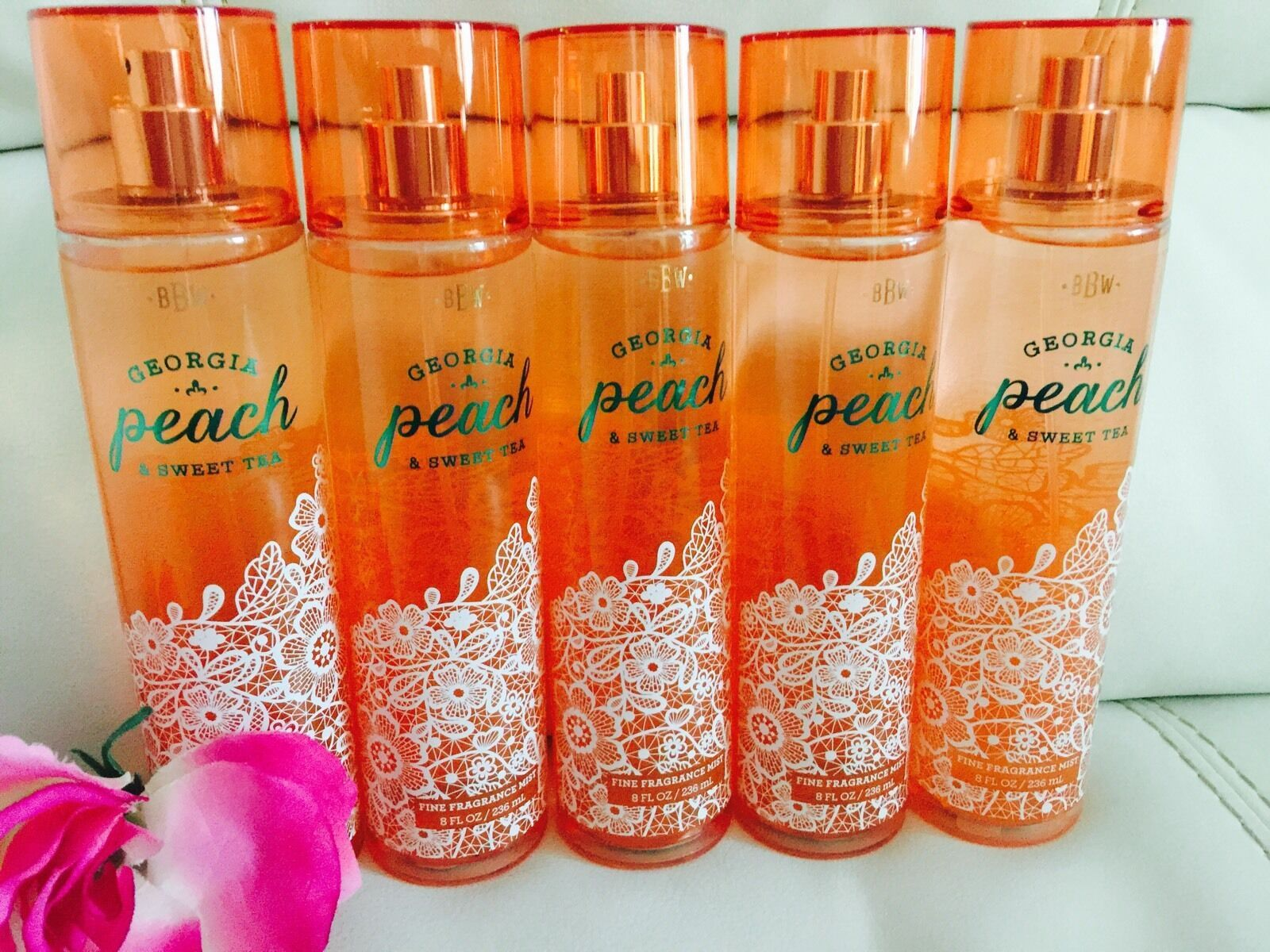 Total 5 Bath & Body Works Georgia Peach & Sweet Tea  Body Mist Full Size 8.4 Oz image 2