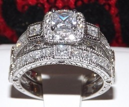 3.4 Princess Cut Engagement Wedding Ring Set Diamond Simulated +Per Pendant Sz 7 - $48.61