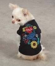 Dog Tee T-Shirt Tank Top Flower Child black Retro Peace - $8.99