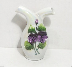 Vintage Iridescent Ceramic Vase Purple & Red Flower Japan Napco - $4.95