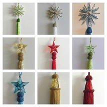 "7"" Long Christmas Bead Ornaments Star Snowflake Tassel Red Green White G... - $7.99"