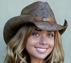 NEW Conner Country Western Dark Brown Raffia Straw Ladies Cowboy Hat F5003 - €41,76 EUR