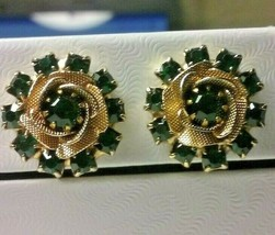 "Vintage Jewelry: 3/4"" Gold Tone ""Judy Lee"" RhinestoneClip On Earrings 04... - $11.87"