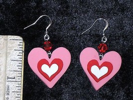 Valentine Heart Pink White Polymer Clay Red Cry... - $2.50