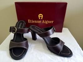 Etienne Aigner deep brown leather shoes sandals w/box 8.5 VGC - $18.99