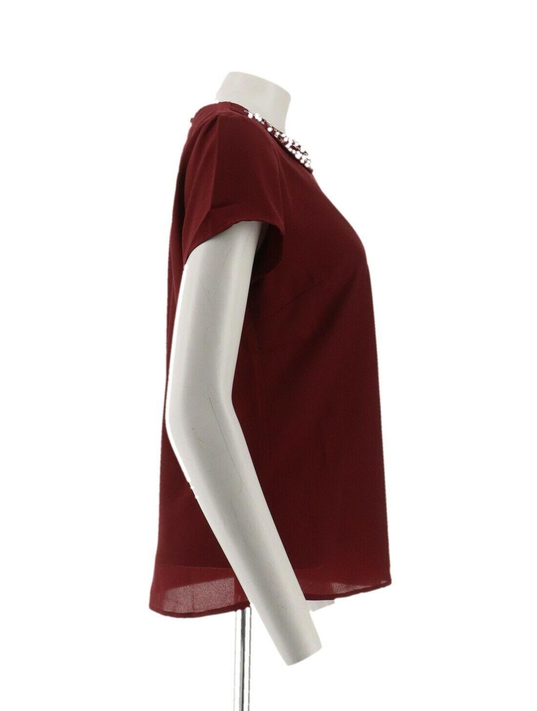 Dennis Basso Short Slv Top Embellished Peter Pan Collar Solid Wine 6 NEW A261457 image 4