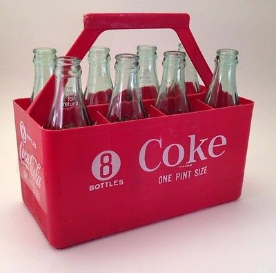 Vintage Red Plastic Coca-Cola Bottle 8 Pack Pint Carrier Coke Crates 8 Ball