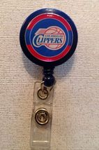 Nba Los Angeles Clippers Badge Reel Id Holder red blue alligator clip ha... - $6.95