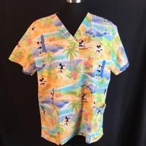 Disney Scrubs Uniform Surfer Mickey Hula Minnie Mouse Hawaii Beach 2 Pockets L - $24.26
