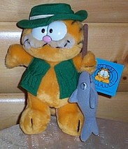 "Garfield Plush 10"" Dakin Vintage 80's Fisherman in Vest & Hat with Fish ... - $14.95"
