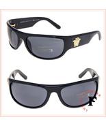 VERSACE Men Gold Medusa Wrap Sunglasses VE4276 Shiny Black Polarized 4276 - $211.17