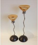 Ceramic Steel Twist Candle Stick Holder Taper Amber Gold Crackle Handmad... - $125.00