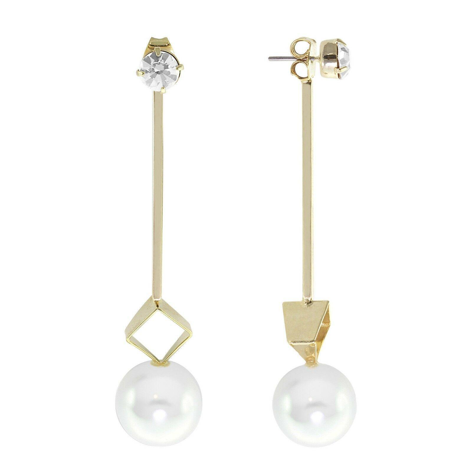 Daniela Swaebe 18K Gold-Plated What A Stud Linear Drop Glass Pearl Earrings NWT