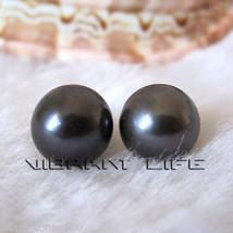 9.5-10.0mm Black Freshwater Pearl Stud Earrings AC - $9.75