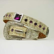 Brindle  HAIR LEATHER purple RHINESTONE WESTERN BUCKLE COWBOY GIRL BELT ... - $899.99