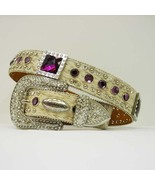 Brindle  HAIR LEATHER purple RHINESTONE WESTERN BUCKLE COWBOY GIRL BELT ... - $899.99