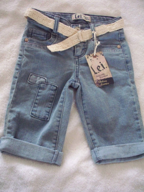 NEW 5 GIRLS JEAN LOWRISE LEI SHORTS ADJUSTABLE WAIST  PANTS INCLUDES BELT nwt