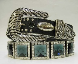 NEW BLACK SQUARE PRISM CONCHO zebra BUCKLE WESTERN COWBOY GIRL BELT S M ... - $76.99