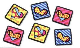 Romero Britto Heart Design Coaster Set  - Set of 6 - NEW