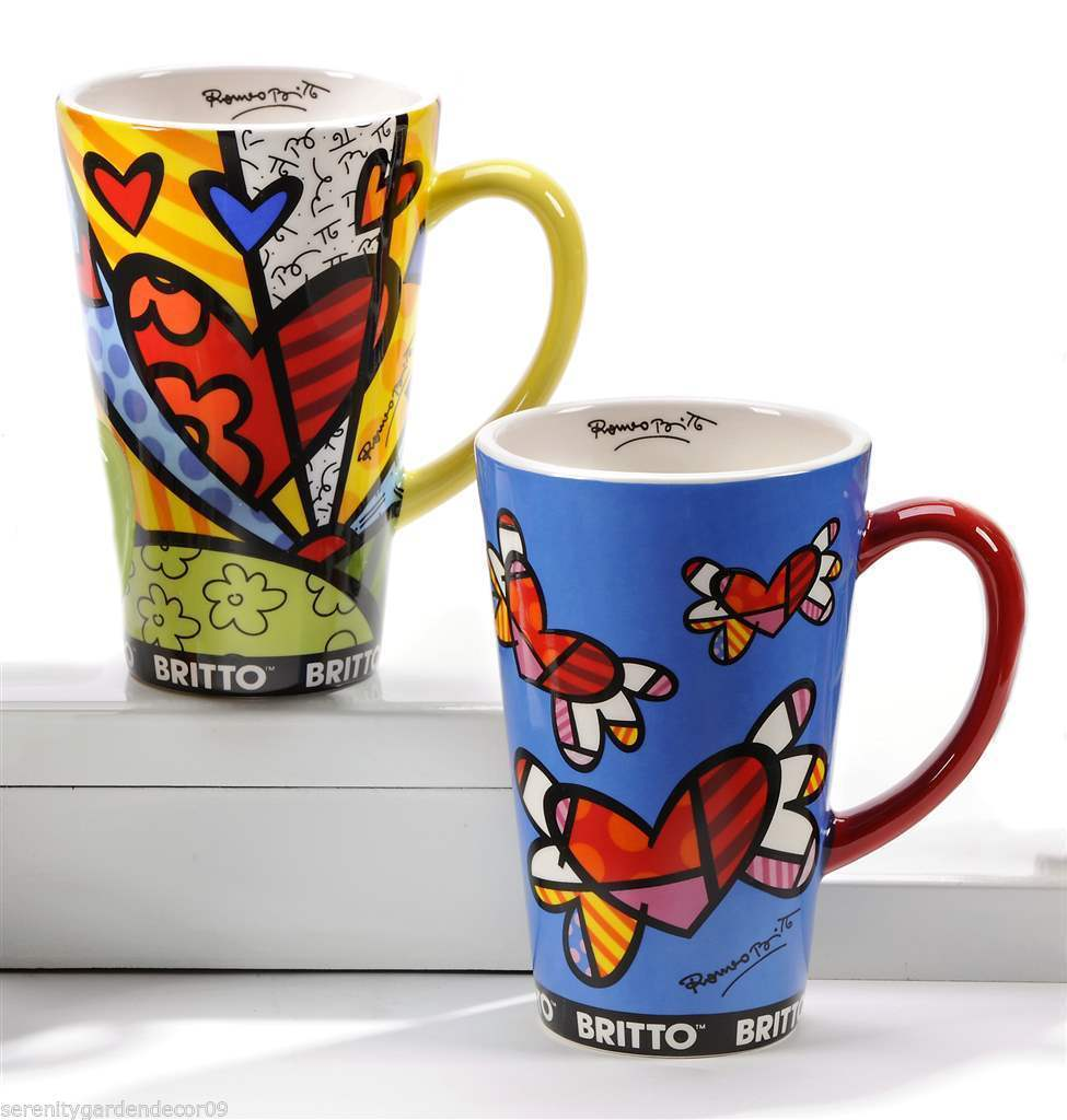 Romero Britto Set of 2 Mugs A New Day & Flying Hearts Designs - 14oz  #3333142