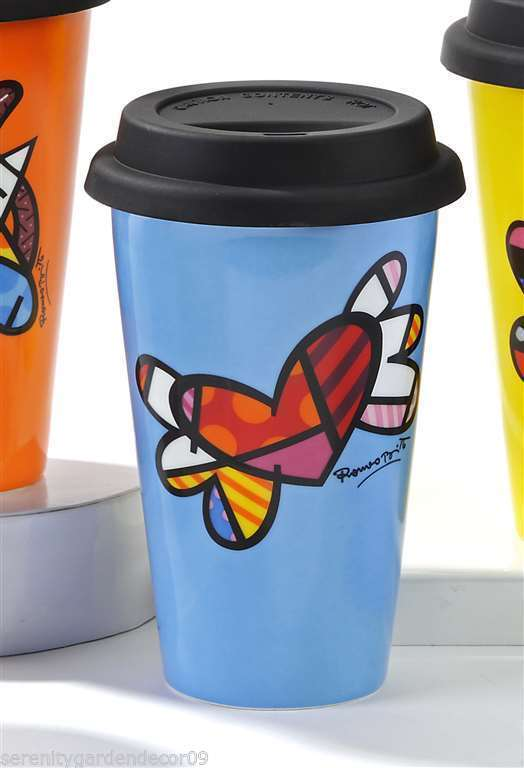 Romero Britto 9.5 oz Double-wall Blue Porcelain Travel Mug Flying Heart Design