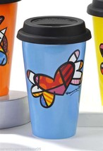 Romero Britto 9.5 oz Double-wall Blue Porcelain Travel Mug Flying Heart Design - $24.74