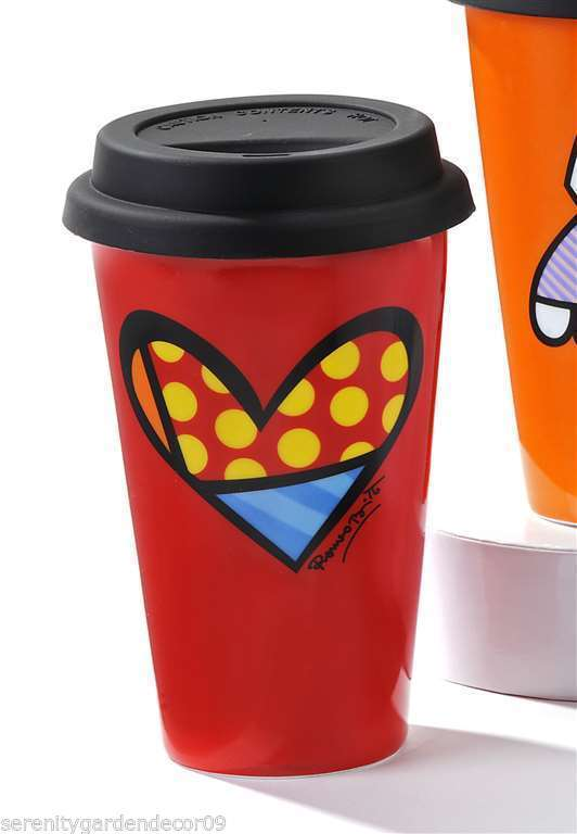 Romero Britto 9.5 oz Double-wall Red Porcelain Travel Mug Red Heart Design