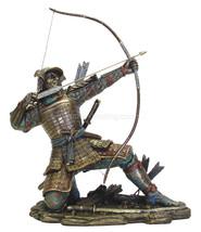 "Samurai Archer Kneeling While Taking Aim 10.5"" High Statue Bronze Finish - $71.54"
