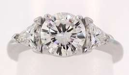 2 Ct Round Brilliant & Triangle Moissanite 3 Stone Ring 14K Solid White Gold - $1,084.05