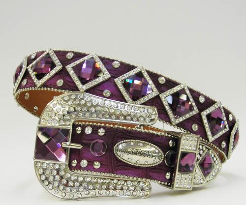 NEW Deep  Purple  DIAMOND RHINESTONE WESTERN BUCKLE COWBOY GIRL BELT S M L or XL