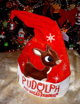 Rudolph the Red-Nosed Reindeer Musical Animated Light Up Santa Hat Cap D... - $28.19