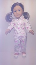 Am Girl Doll pajama set with  pink hearts polka dotted canvas shoes CUDDLY fun - $15.83