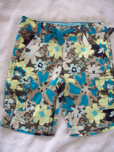 NWT 5  GIRLS CARGO FLOWER BROWN BLUE YELLOW  SHORTS ADJUSTABLE WAIST  PANTS