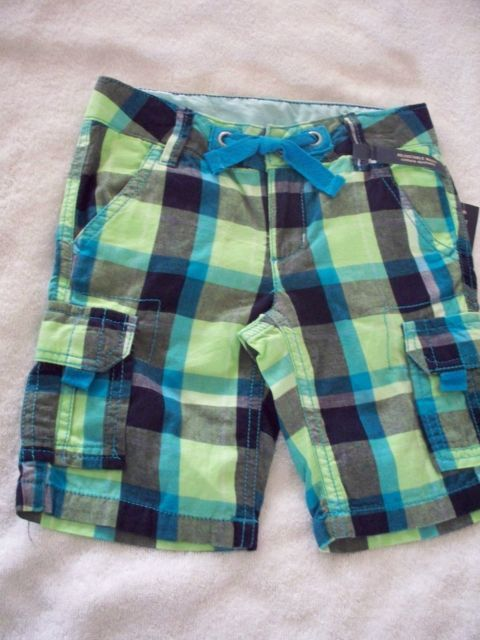 NEW NWT 5  GIRLS CARGO PLAID BLUE GREEN BLACK   SHORTS ADJUSTABLE WAIST  PANTS