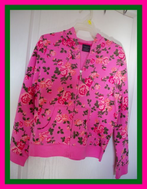 NEW NWT SIZE SZ GIRLS 10 12 JACKET SWEATSHIRT  PINK  ROSE PRINT ZIP HOODIE  TOP