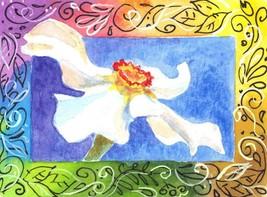 Akimova: DAFFODIL, still life, white, green, watercolor, ACEO - $6.00