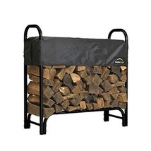 Outdoor Firewood Rack 4-Ft Steel Frame Wood Log Storage with Cover - $99.00