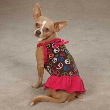 East Side Collection Retro Peace Sign Dog  Dress Cotton Poly Teacup-SM G... - $6.92+