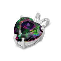 Sterling Silver Bold Rainbow Topaz Heart pendant New Love Anniversary d98 - $10.59