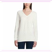 DKNY Jeans Women's Rhinestone Embellished V-Neck Sweater, Ivory, Medium - $3.64