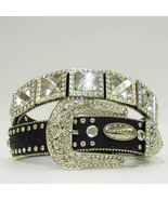 NEW S M L or x BLACK SQUARE CRYSTAL PRISM CONCHO BUCKLE WESTERN COWBOY G... - $74.99